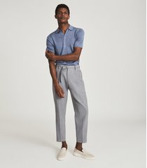 reiss duchie - merino wool open collar polo shirt in sky blue melange, mens, size xxl