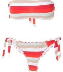 amir slama frufru striped bandeau bikini set - multicolour
