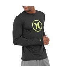 camiseta lycra surf hurley manga longa circle icon masculina