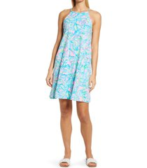lilly pulitzer(r) margot floral halter dress, size xx-large in pelican pink off the scales at nordstrom