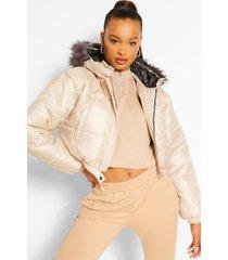 faux fur trim crop puffer jacket, stone