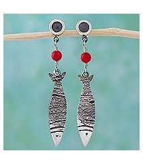 sterling silver dangle earrings, 'silver fish' (mexico)