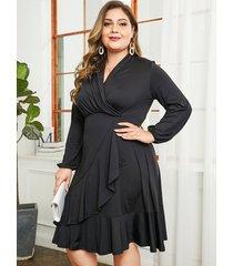 vestido de manga larga negro talla grande yoins