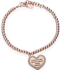 bracciale lady message acciaio rosato love e cristalli per donna