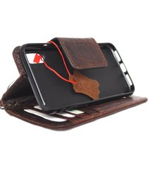 genuine leather case for apple iphone x book wallet magnet closure cover brown r