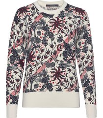 allover printed pullover with shiny ribs gebreide trui multi/patroon scotch & soda