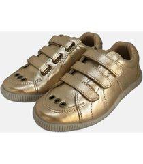 sapatãªnis hobby em couro metalizado ouro - dourado - menina - couro - dafiti