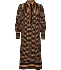 sirius ls midi dress jurk knielengte bruin second female