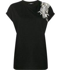 balmain beaded t-shirt - black