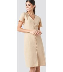 na-kd boho button front linen-blend dress - beige