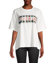 moschino women's elbow-sleeve logo slot machine graphic t-shirt - white - size 42 (8)