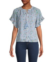 allison new york women's ruffled floral blouse - blue floral - size s