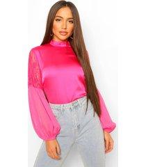 geweven blouse met kanten shirt mouwen, hot pink