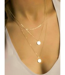 gold color round pendant multi-layer necklace