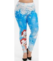 plus size snowflake cat print christmas leggings