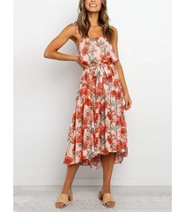 cuadrado con estampado floral aleatorio con cinturón cuello correa de espagueti sin mangas vestido