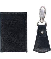 kit de chaveiro e porta habilitação de couro yasrro slim preto