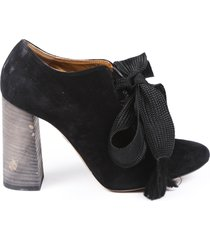 chloe suede lace up booties black sz: 6