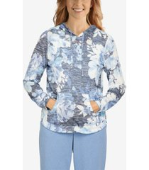 plus size relax and enjoy comfy floral hooded pullover