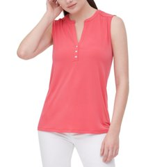 calvin klein split-neck sleeveless top