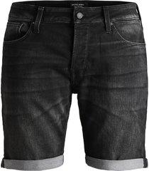 jack & jones jeans short 12147068 rick 853 black denim - zwart