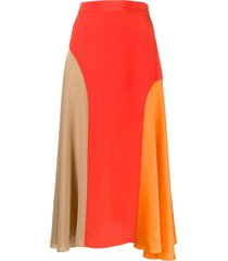 chinti and parker panelled silk skirt - red