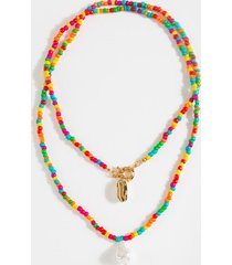 women's camila beaded drop necklace in multi by francesca's - size: one size
