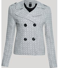 blazer feminino texturizado transpassado curto com botões off white