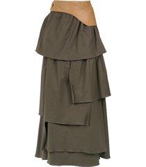 adriana degreas ruffled maxi skirt - green