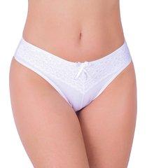 calcinha em cotton vip lingerie renda sobreposta branco