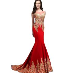 kivary sheer top mermaid gold lace long crystals formal evening prom dresses red