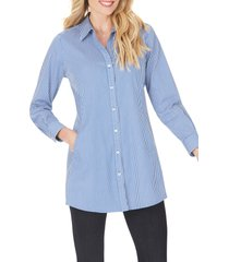 women's foxcroft cici after party stripe non-iron stretch tunic shirt, size 2 - blue