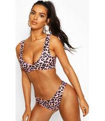 leopard plunge triangle v front brazilian bikini, pink