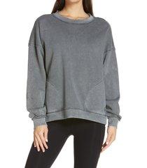 women's free people fp movement metti crewneck sweatshirt, size x-small - grey