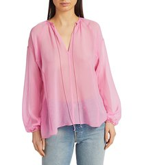 rag & bone women's melody long-sleeve top - neon pink - size l