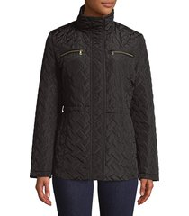 cole haan women's classic quilted coat - cashew - size xs