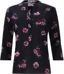 blusa mujer flores con hojas color negro, talla s