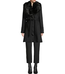 faux fur-trim wool-blend wrap coat