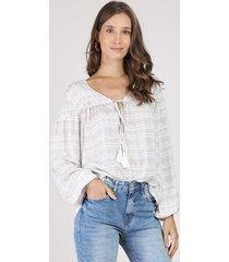 blusa feminina ampla estampada paisley manga longa decote v branca