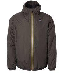 k-way le vrai 3.0 claude padded jacket - grey smoke k009mn0-216