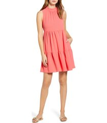 women's gibson x the motherchic lakeshore tiered dress, size small - coral