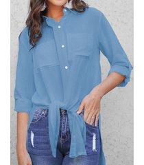 celmia button design blusa de manga larga con cuello clásico