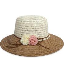 beach flowers colorblock straw hat