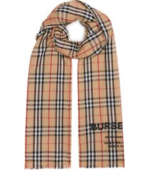 burberry embroidered vintage check lightweight cashmere scarf - brown