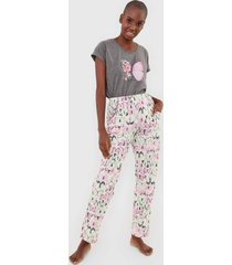 pijama pzama borboletas cinza/off-white