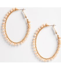 maurices womens cream beaded hoop earrings