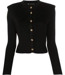 versace structured shoulders cardigan - black