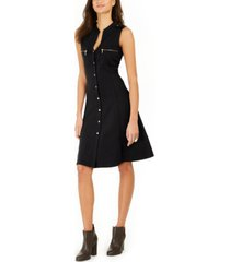 ny collection petite scuba crepe button-front dress