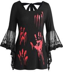 plus size halloween blood hands bell sleeve sheer tee