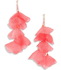 stella + ruby lily chiffon flower earrings in gold/coral sorbet at nordstrom